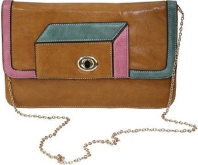 Geometric Clutch Tan