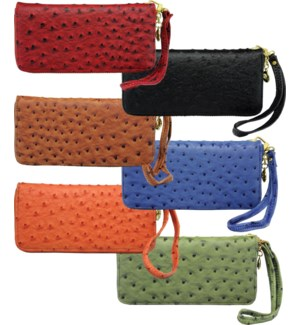 Ostrich Zipper Wallet
