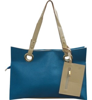 Accordion Laptop Bag with Wristlet Blue