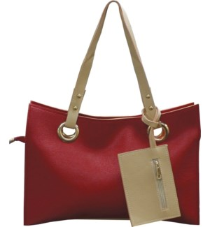 Accordion Laptop Bag with Wristlet Red