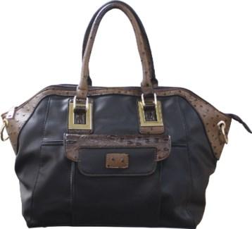 Ostrich Trim Handbag Black and Brown