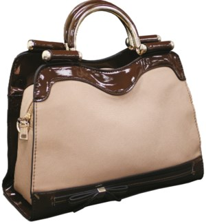 Tote with Metal Handles Brown