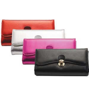 Metallic Wallet with Sliding Clasp Closure