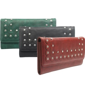 Scalloped Wallet with Rhinestone Accents