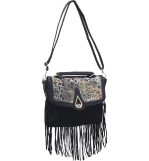 Animal Print Saddle Bag with Fringe Black