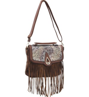 Animal Print Saddle Bag with Fringe Brown