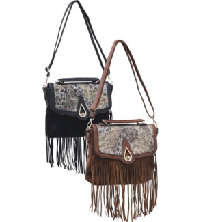Animal Print Saddle Bag with Fringe Mix