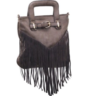 Fringe Purse with Font Buckle Brown