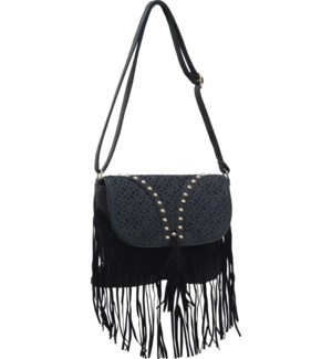 Cutout Studded Crossbody with Fringe Black