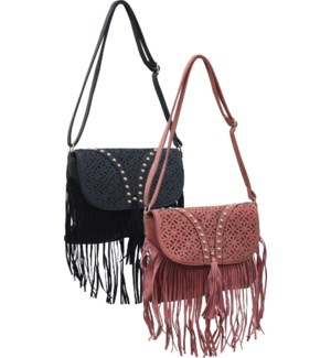 Cutout Studded Crossbody with Fringe Mix