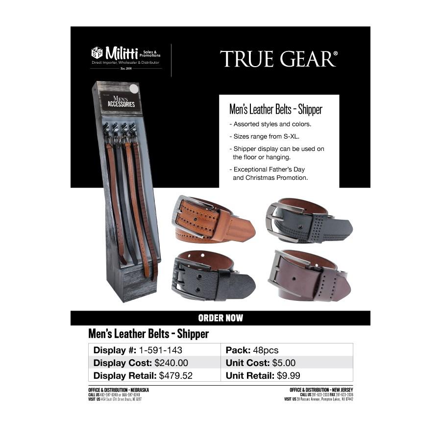 Men's Leather Belts Shipper - 48pc