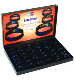 Blue Stainless Steel Ring - 36pcs