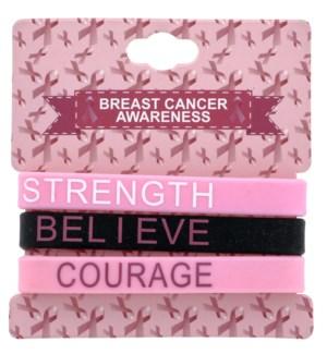 Breast Cancer Awareness 3 Pack Bracelets