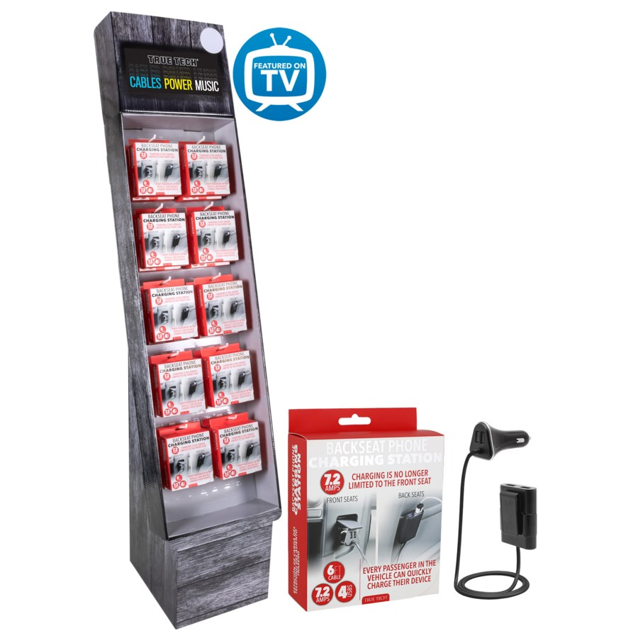 7.2 Amp 4 USB Car Charger Shipper - 24pcs