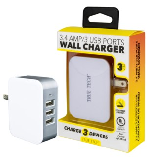 3.4 Amp 3 USB Ports Wall Charger - UL Listed