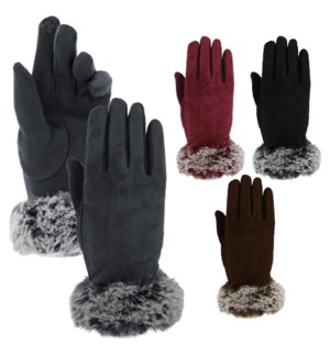 Texting Gloves - Fur Accent