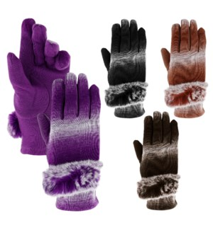 Texting Gloves - Rabbit Fur Gradient