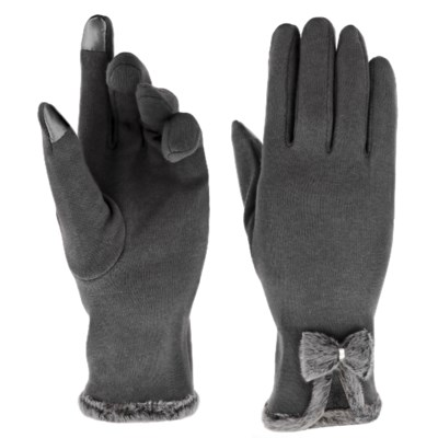 Texting Gloves - Fur Puff Accent
