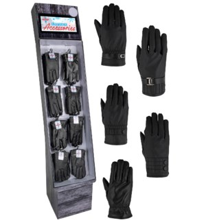 Vegan Leather Gloves Display - 48pcs