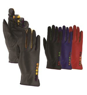Leather Gloves - Colorful Button Accents