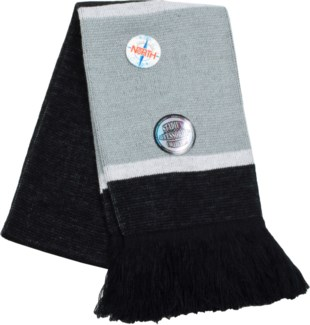Scarf with Fringe Black/White/Gray  - Stadium Series