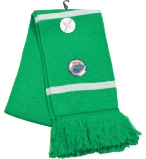 Scarf with Fringe Green/White  - Stadium Series