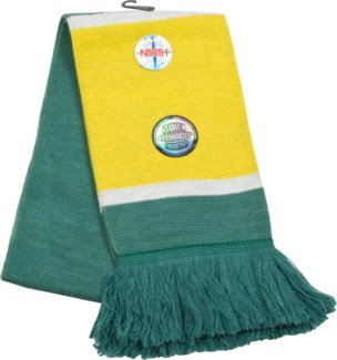 Scarf with Fringe Green/Gold/White  - Stadium Series
