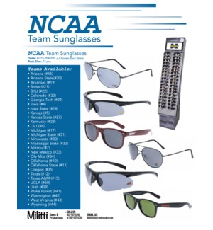 NCAA® Sunglasses Shipper - 72pcs