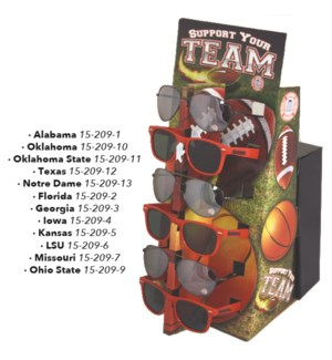 Licensed NCAA Sunglasses with Counter Display - 12pcs