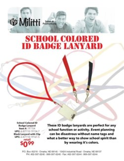 School Colored ID Badge Lanyard