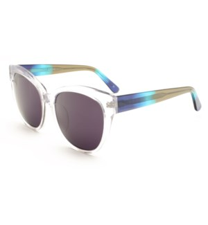 Atlantis Luxury Handmade Sunglasses (Crystal with Blue/Green/Grey)