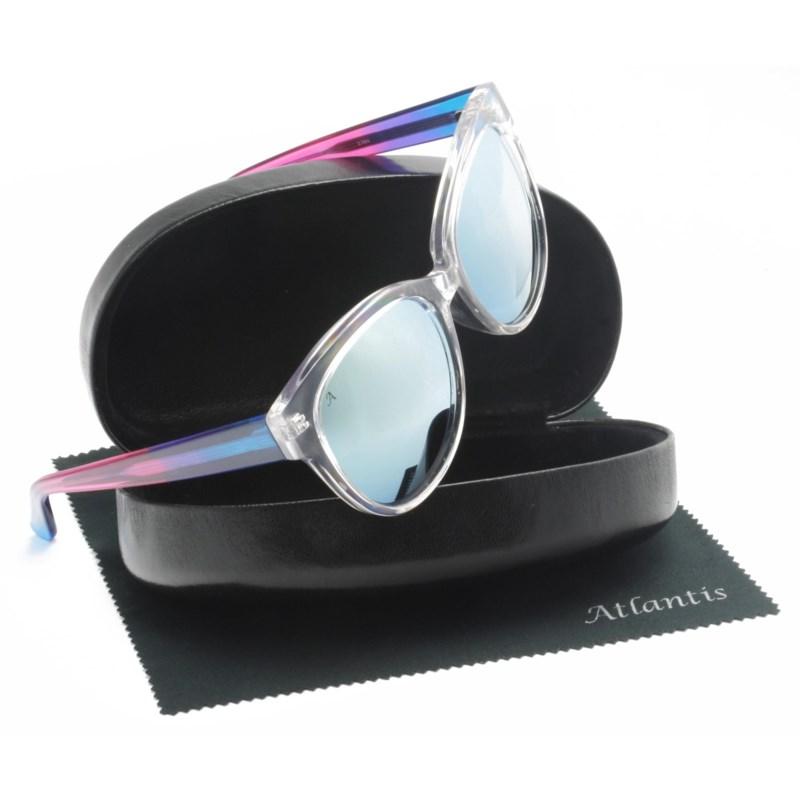 Atlantis Luxury Handmade Sunglasses (Crystal with Blue/Purple/Pink)