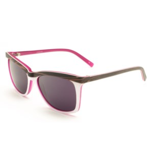 Atlantis Luxury Handmade Sunglasses (Pink Brown wood grain/White/Matte Blue)