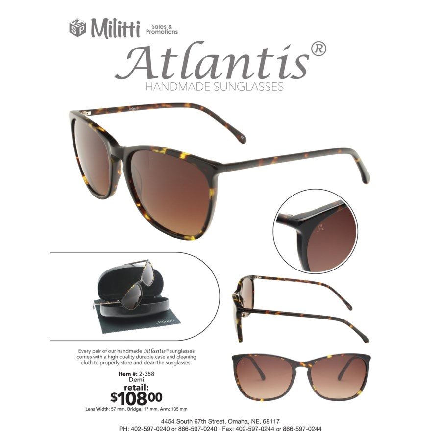 Milos Atlantis Luxury Handmade Glasses (Demi)