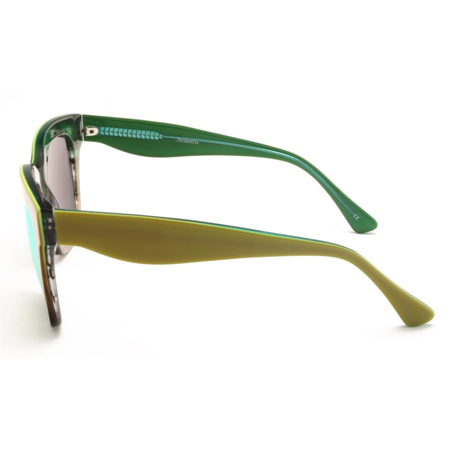Atlantis Luxury Handmade Sunglasses (Green-Brown Stripe/Green-Stripe)