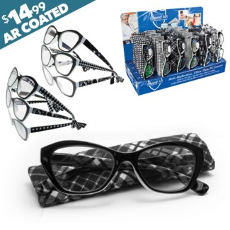 iShield Assorted Black and White Fashion Readers with Matching Case - Uma