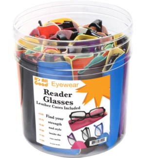 Readers in Leather Case in 30pc Tub Display