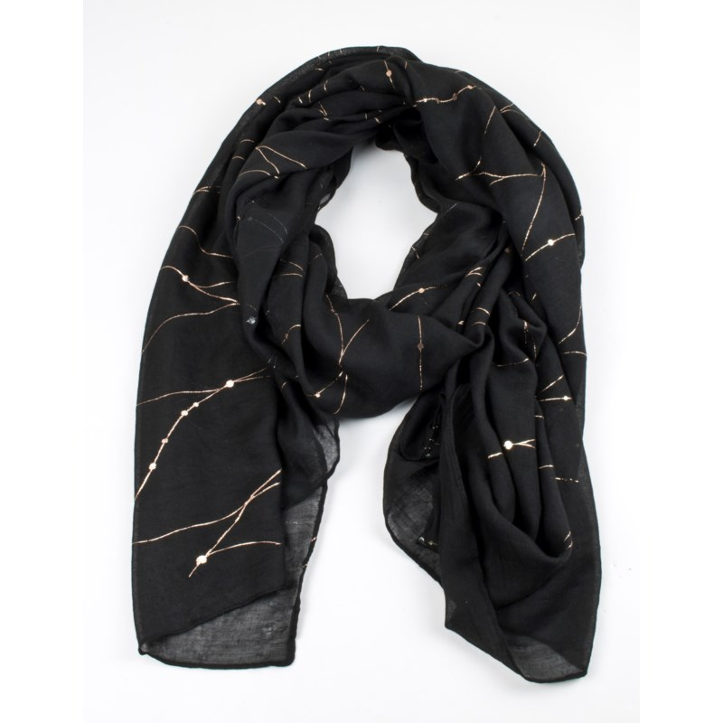 Yvette - Combo Scarf with Gold Pattern