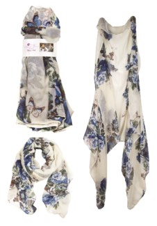Patrice - Combo Scarf with Flower Pattern