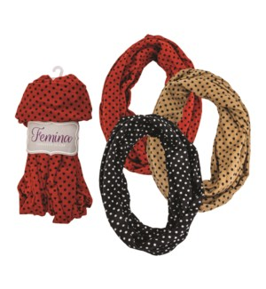 Chloe - Infinity Scarf with Polka Dot Design