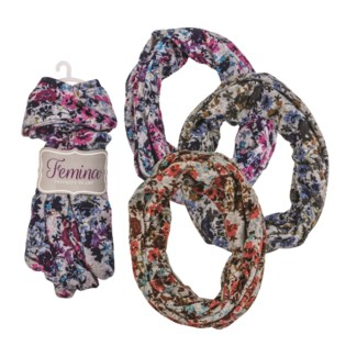 Lucie - Infinity Scarf with Flower Pattern
