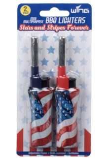 2pk American Flag Mini BBQ Lighters (12/288)