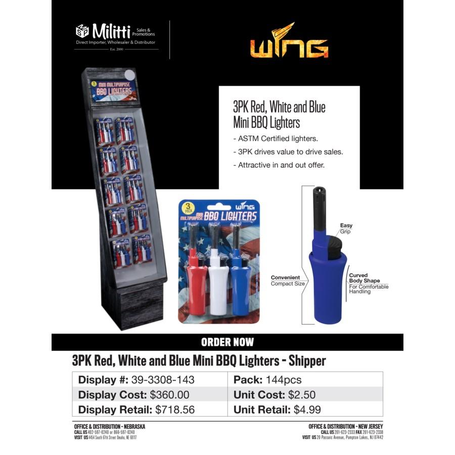 3pk Red, White and Blue Mini BBQ Lighters Shipper - 240pcs