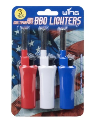 3pk Red, White and Blue Mini BBQ Lighters (12/240)