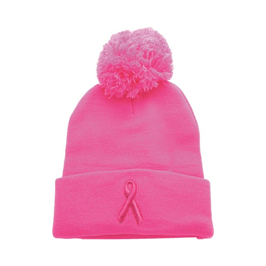 Breast Cancer Awareness Pom Beanie
