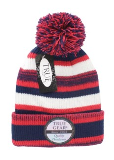 True Gear Pom Beanie - Navy/Red/White