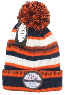 True Gear Pom Beanie - Navy/Orange/White