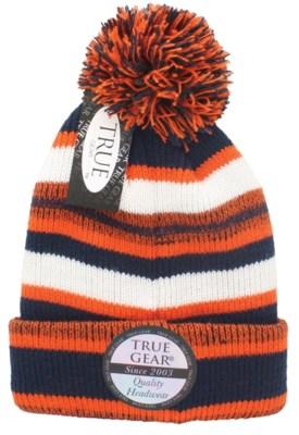 True Gear Pom Beanie - Navy/Orange/White