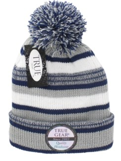 True Gear Pom Beanie - Blue/Gray/White