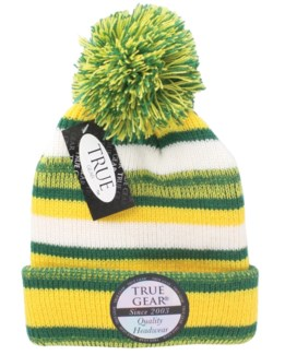 True Gear Pom Beanie - Green/Gold/White